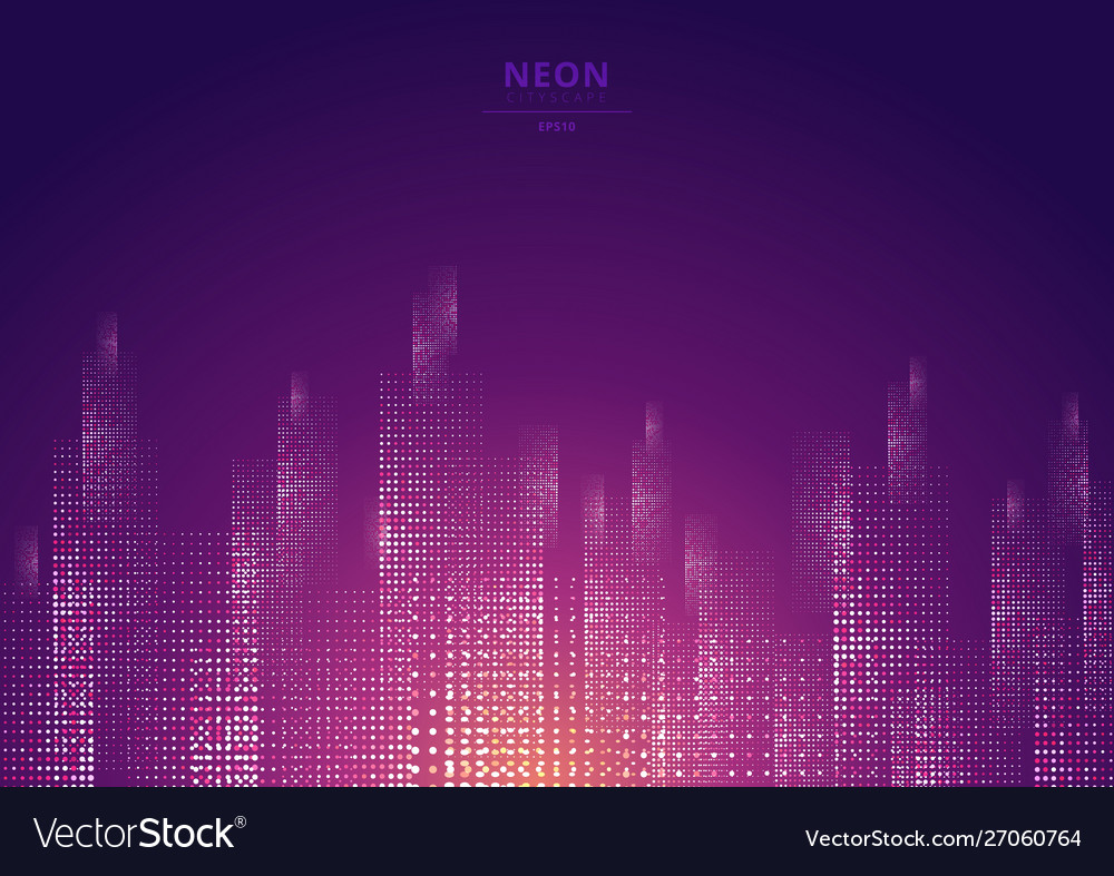 Cityscape on a dark background with bright and