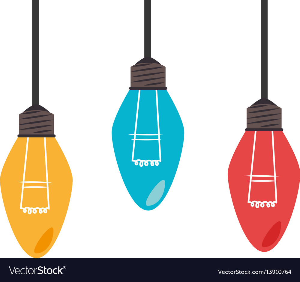 Colorful set collection light bulb hanging