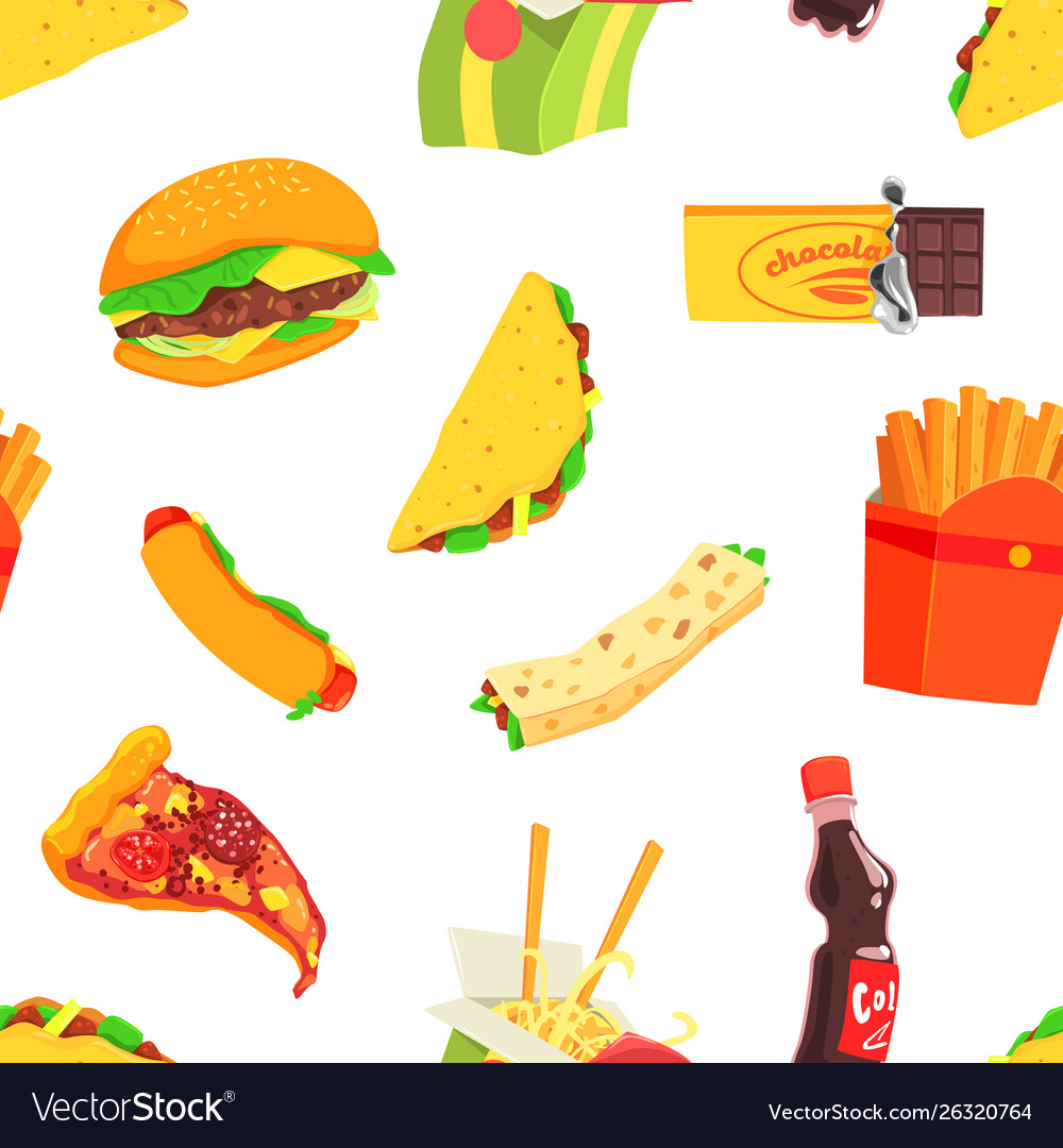 Fast food seamless pattern design element can be