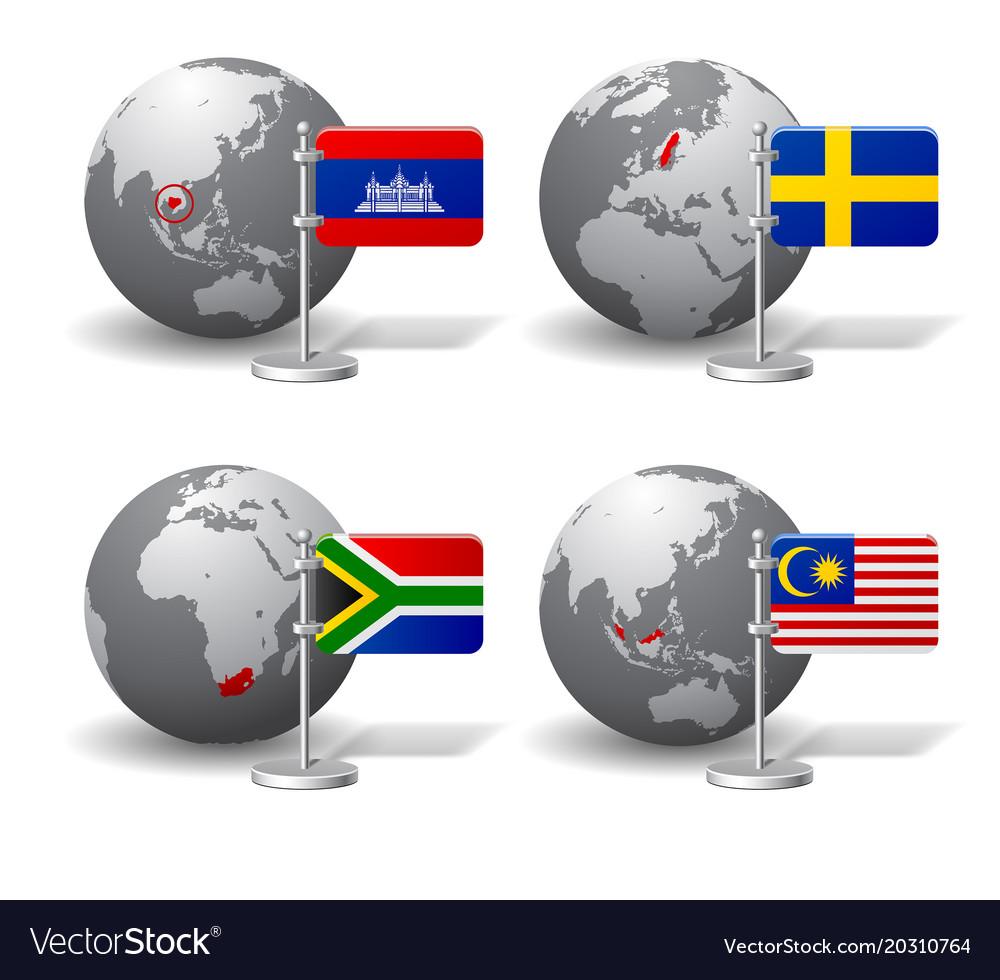 Gray earth globes with designation of cambodia