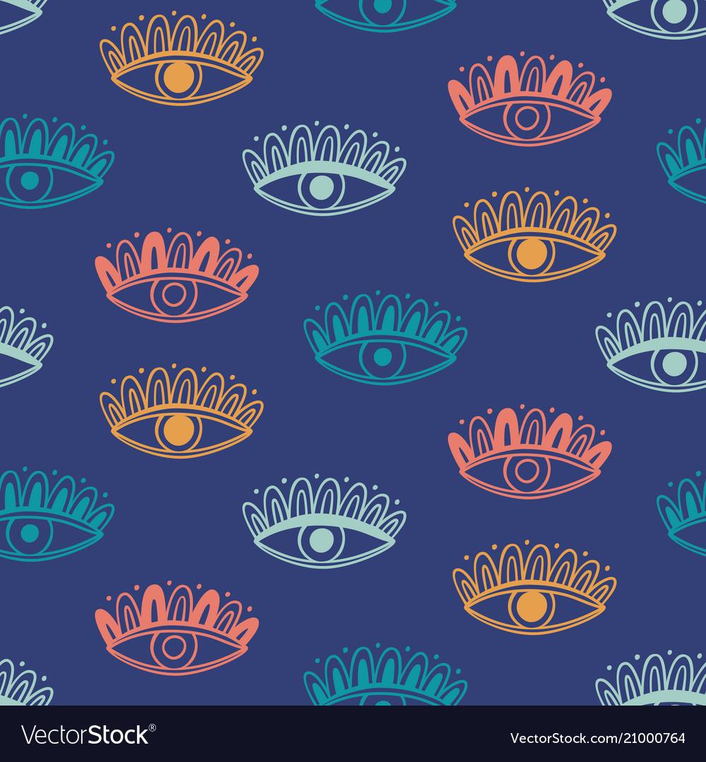 Hand drawn boho eyes doodles pattern