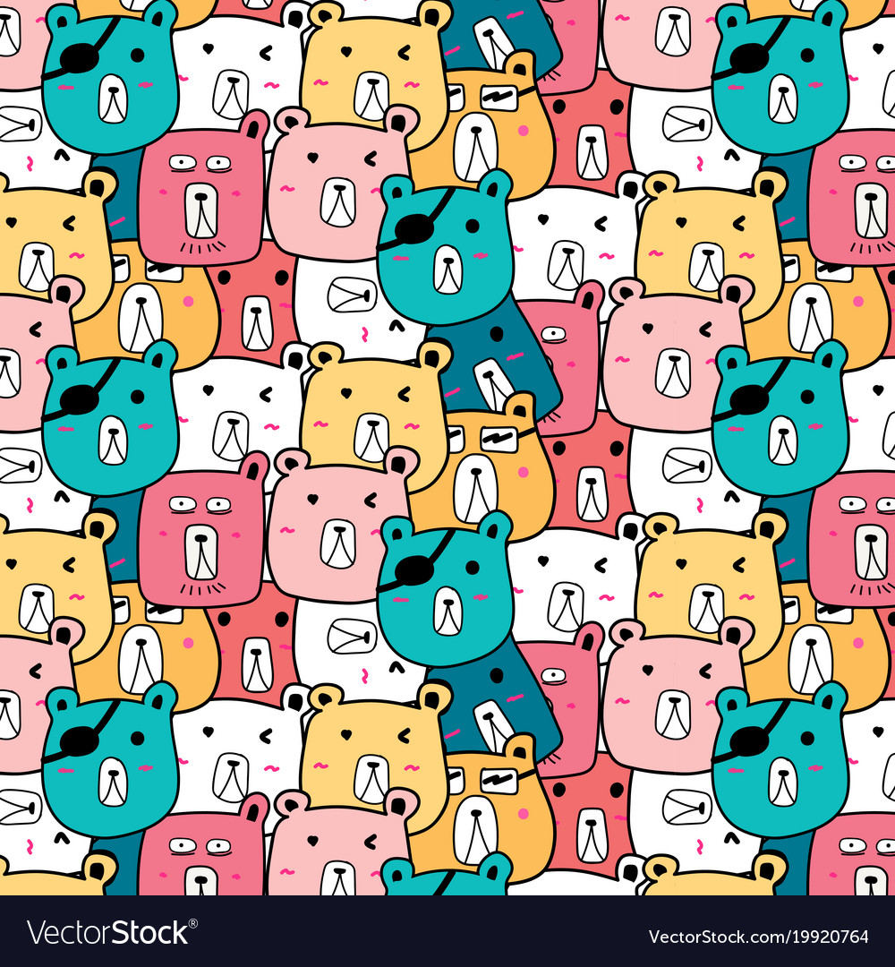 Hand Drawn Cute Bear Pattern Royalty Free Vector Image