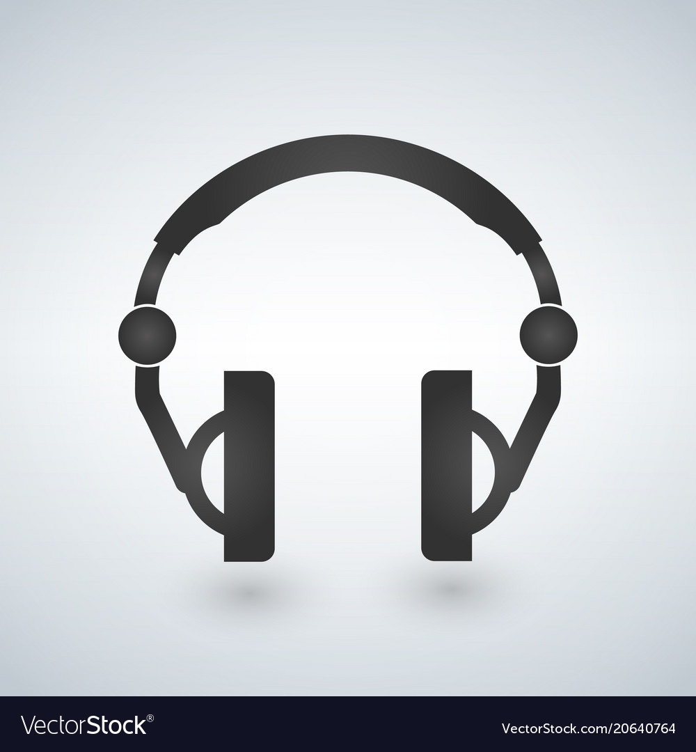 Headphones icon black symbol silhouette isolated vector image