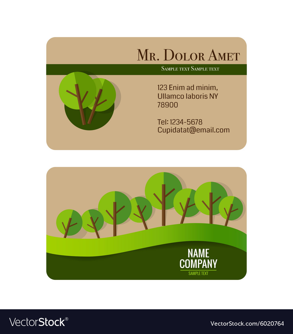 Modern business card template with nature vector image reheart Gallery
