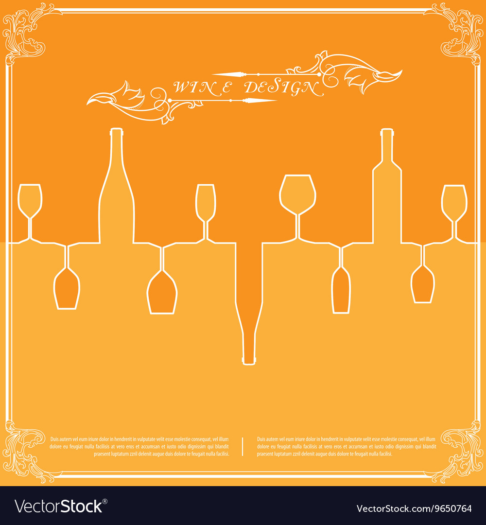 Orange silhouettes of wine attributes background
