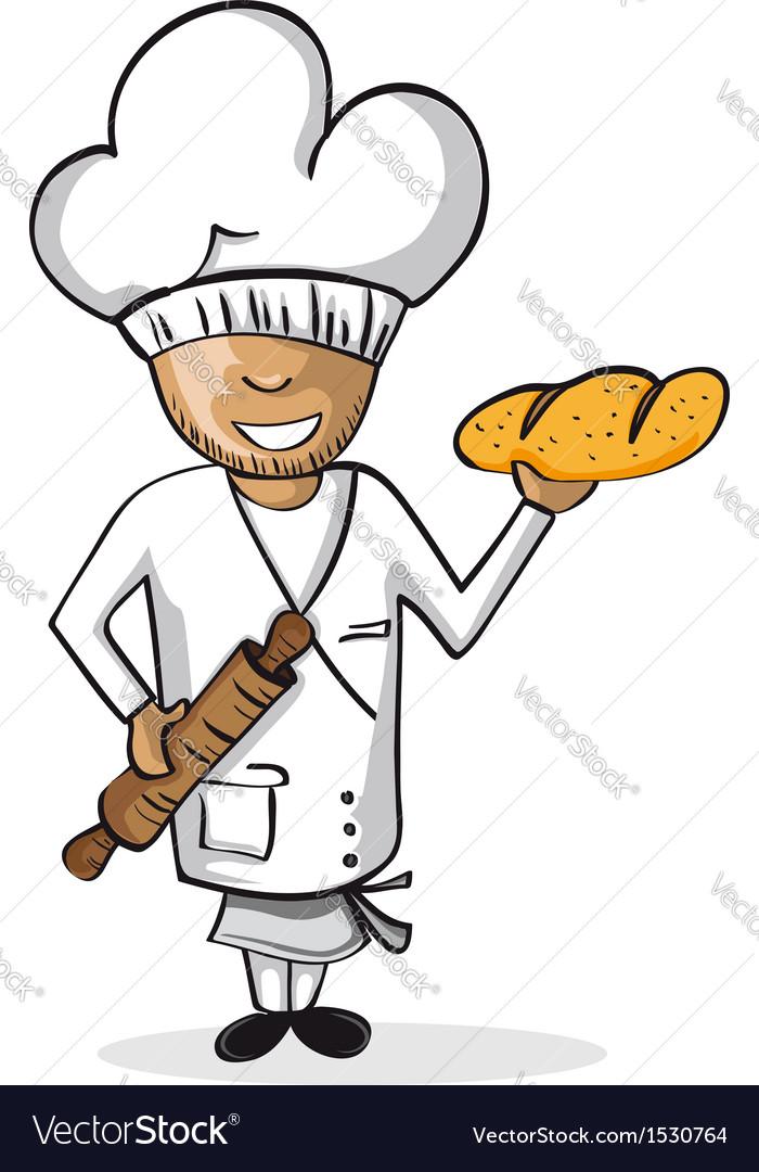 Profession baker worker cartoon figure vector image