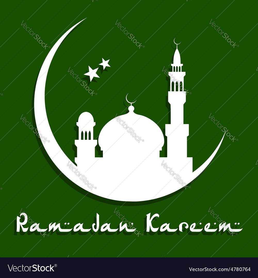 Ramadan Kareem greeting card with mosque