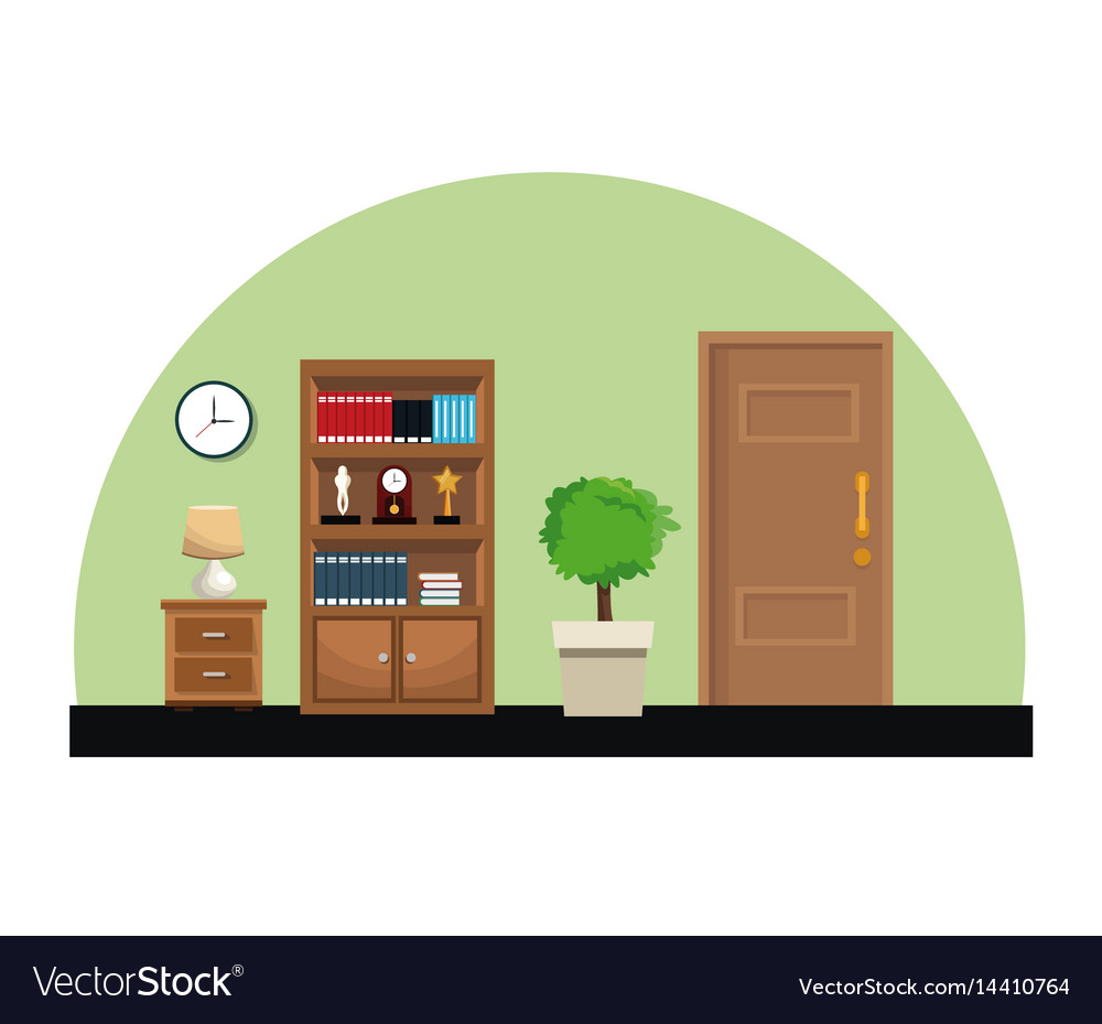 Room Bookshelf Trophy Clock Small Table Lamp Pot Vector Image