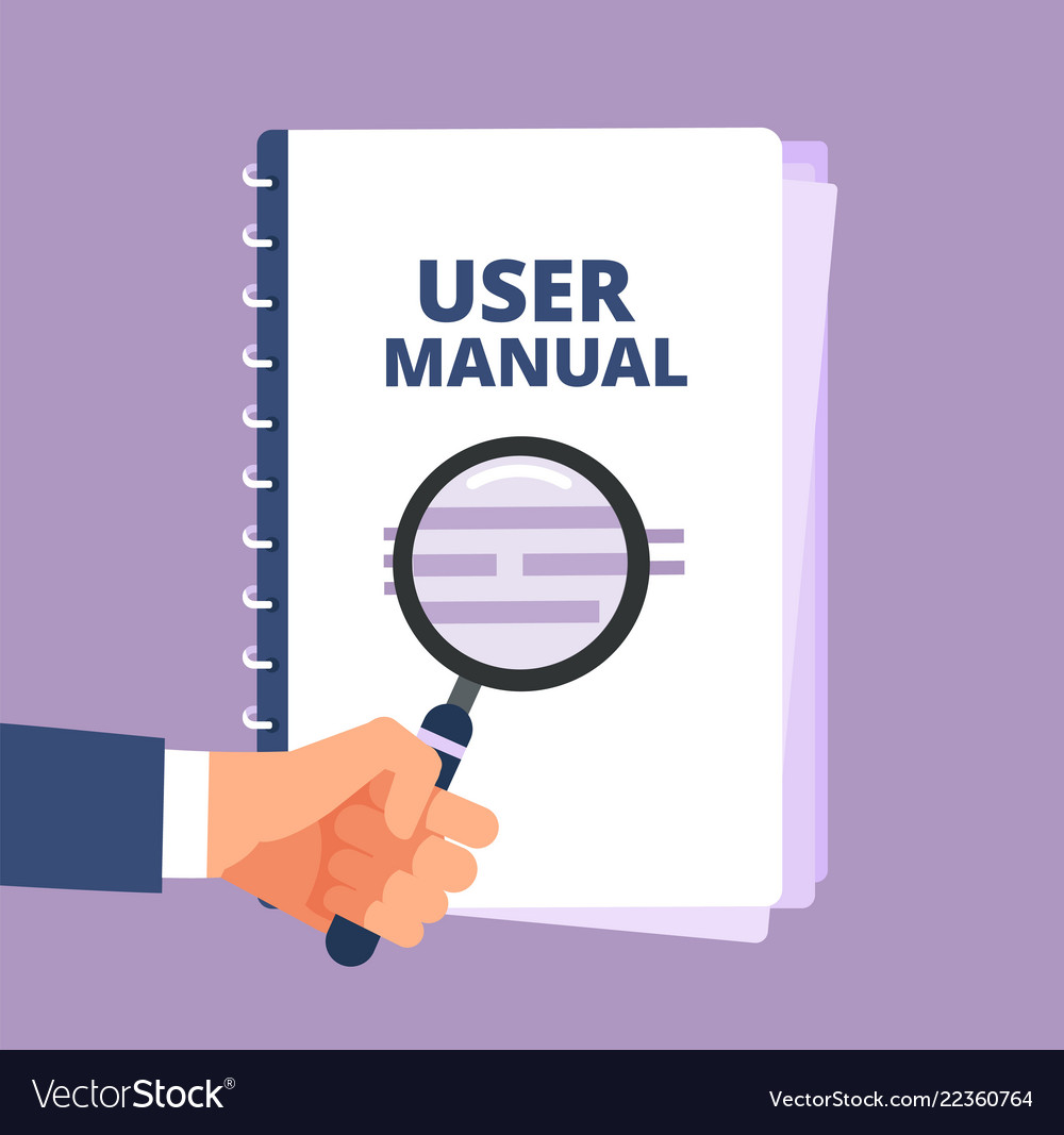 User Manual With Magnifying Glass User Guide Vector Image Manual Guide