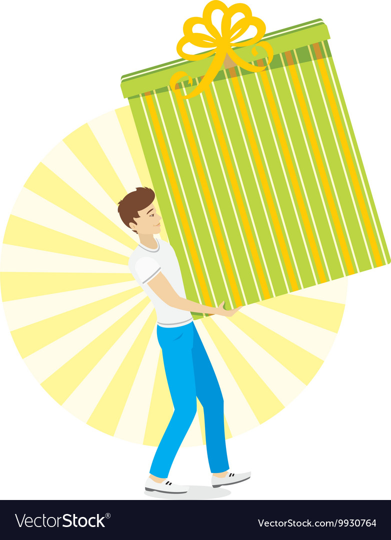 Young Men With Great Gift In Hand Vector Image
