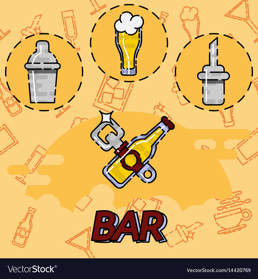 Bar flat concept icons