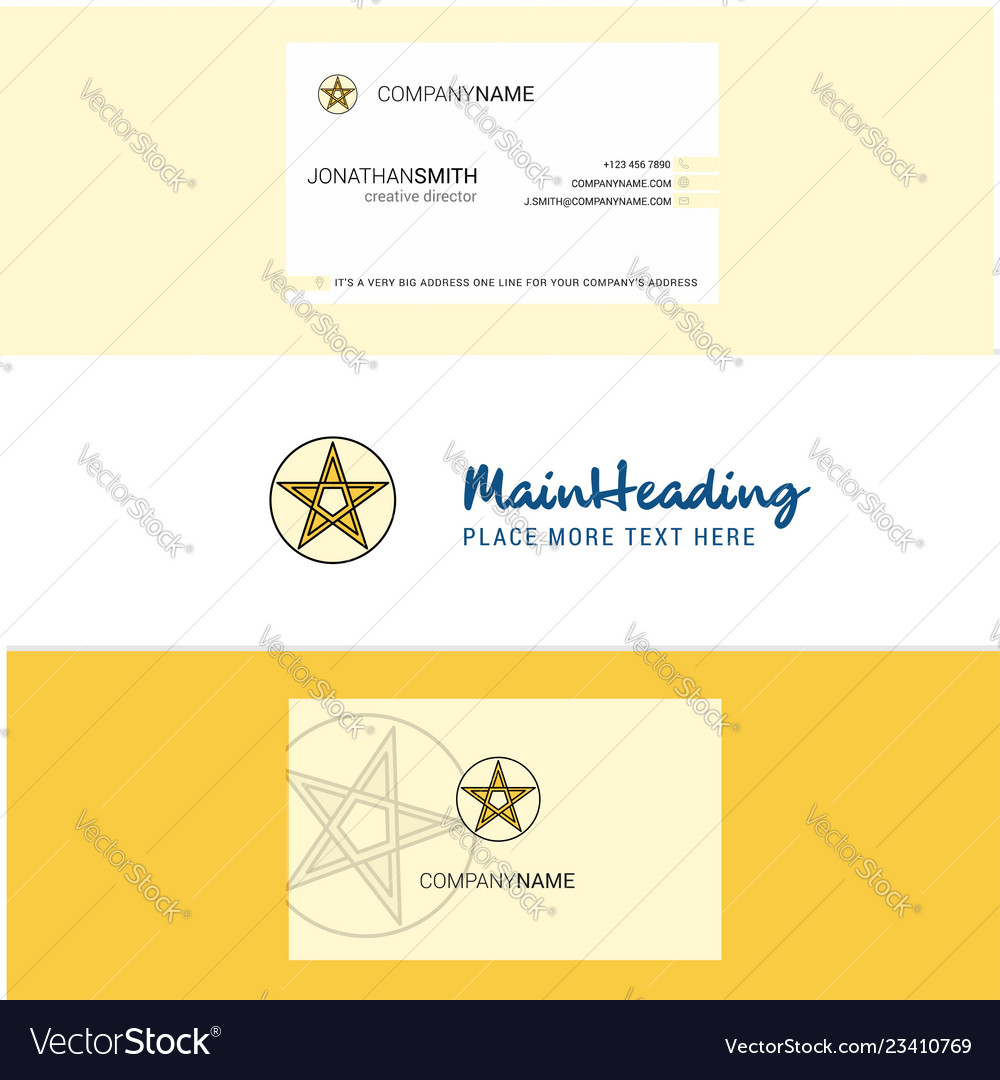 Beautiful star logo and business card vertical