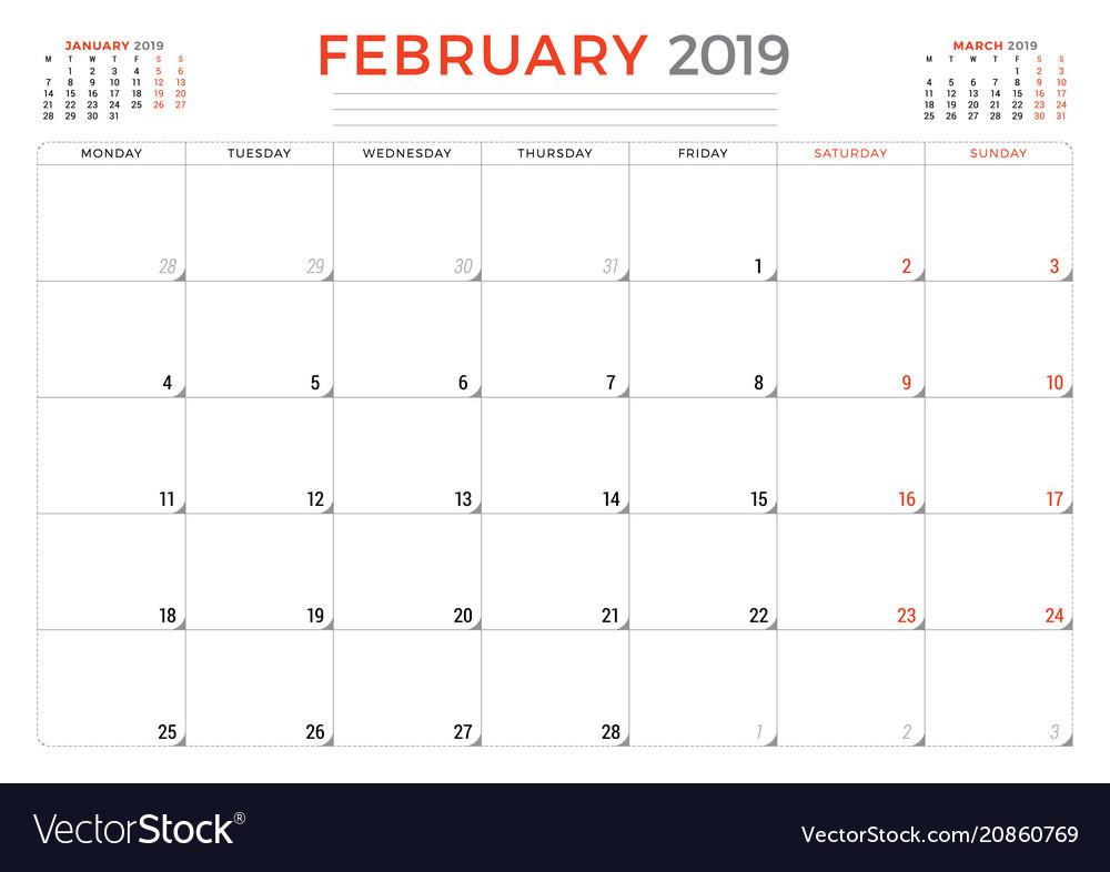 Calendar Planner 2019 February 2019 calendar planner stationery design Vector Image