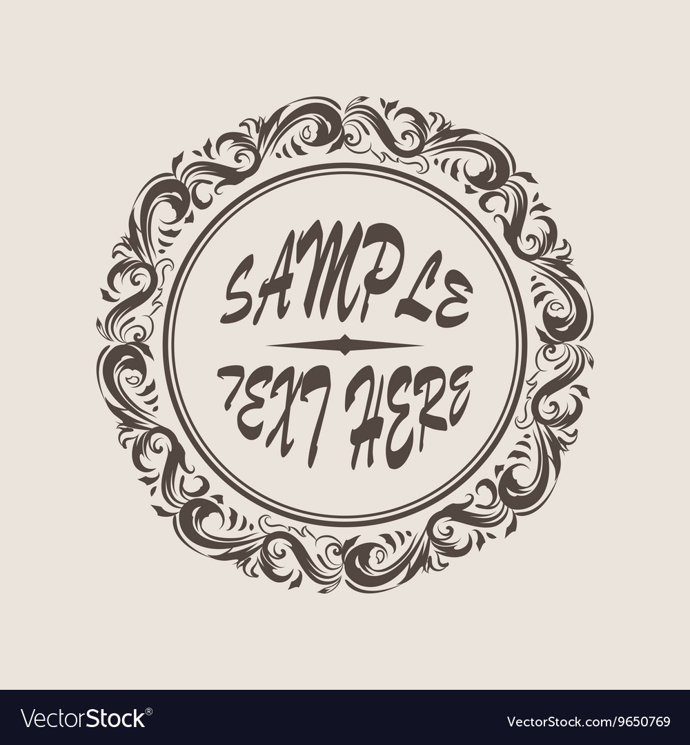 Floral frame with decorative elements with curves vector image