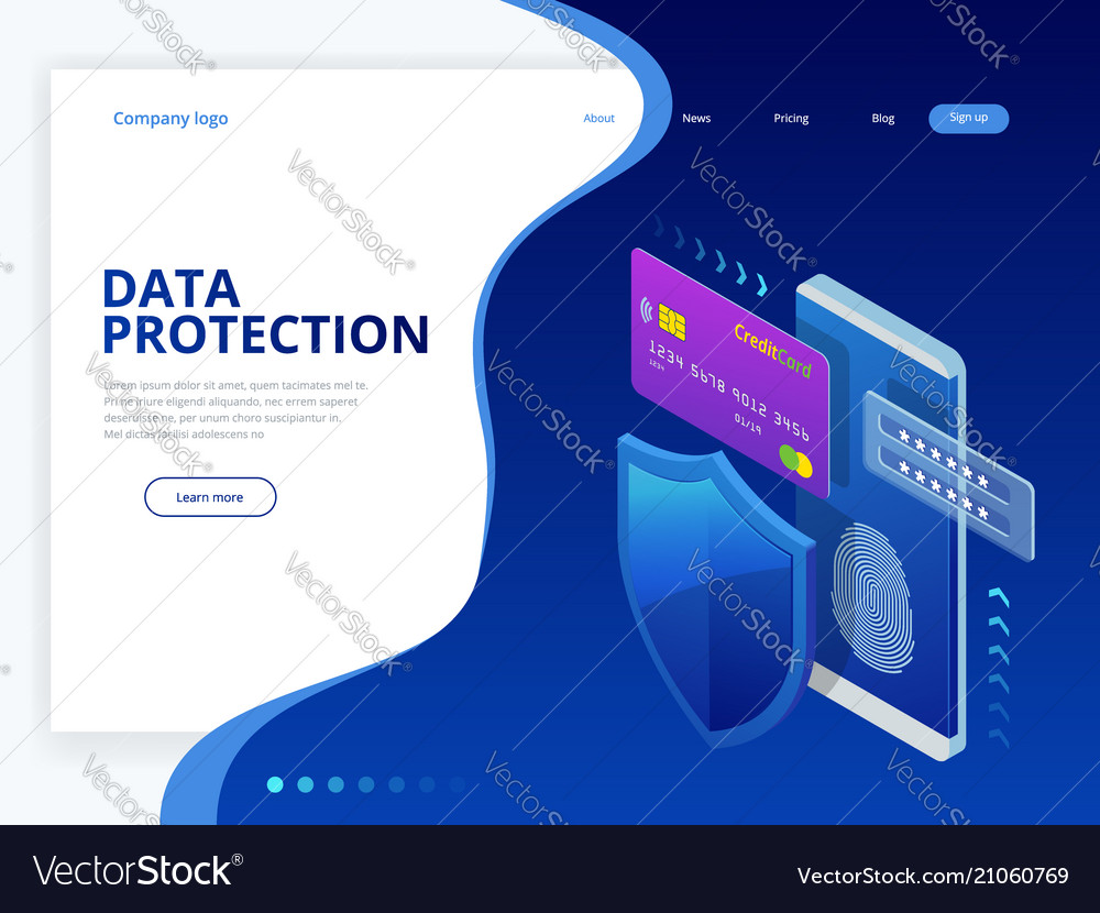 Isometric personal data protection web banner