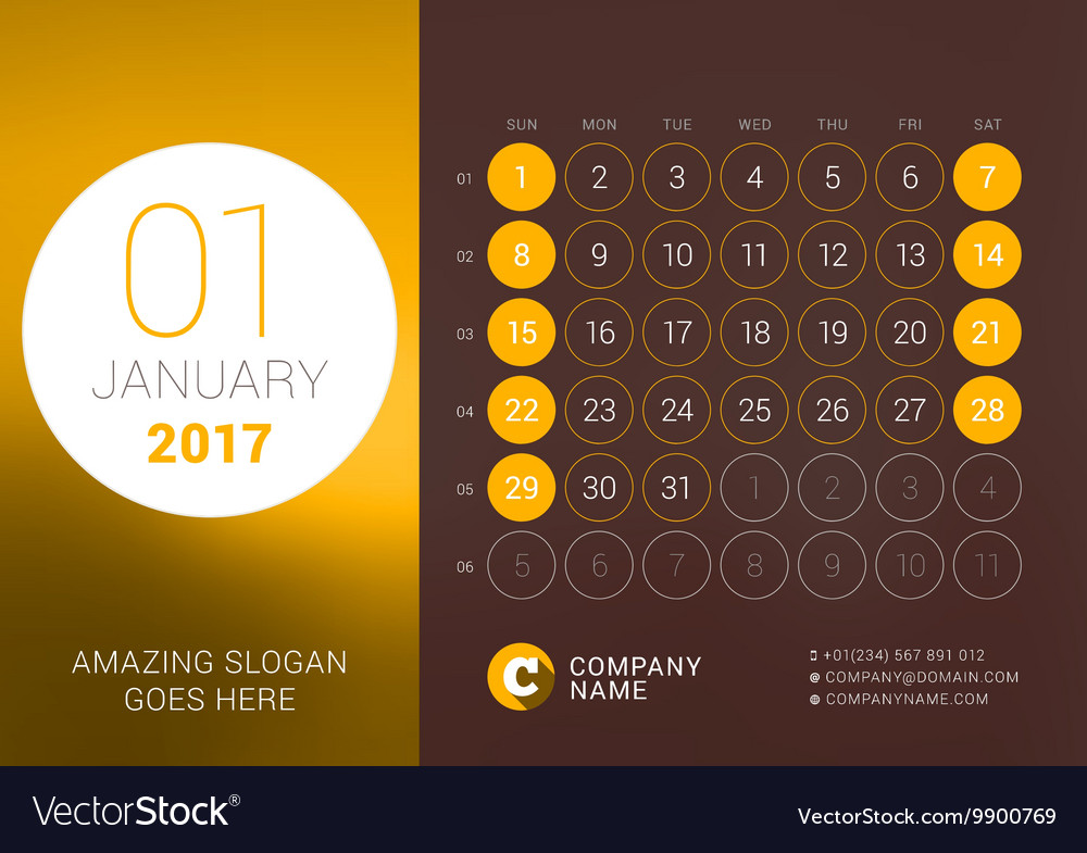 January 2017 Desk Calendar for 2017 Year vector image