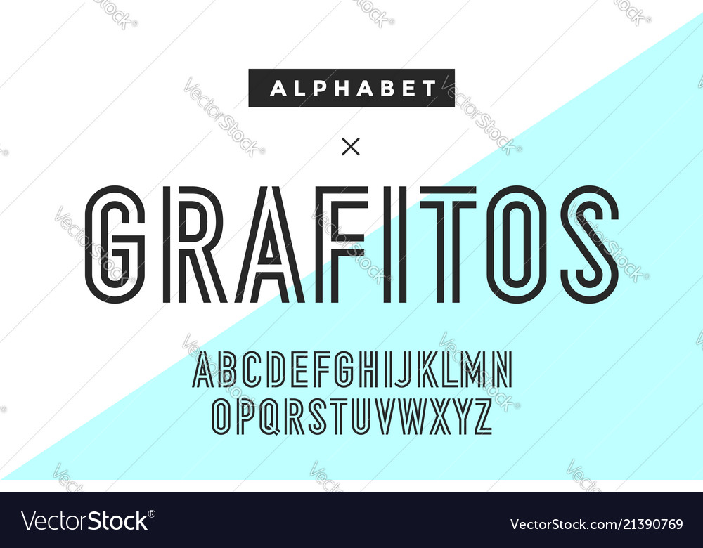 Line condensed alphabet and font