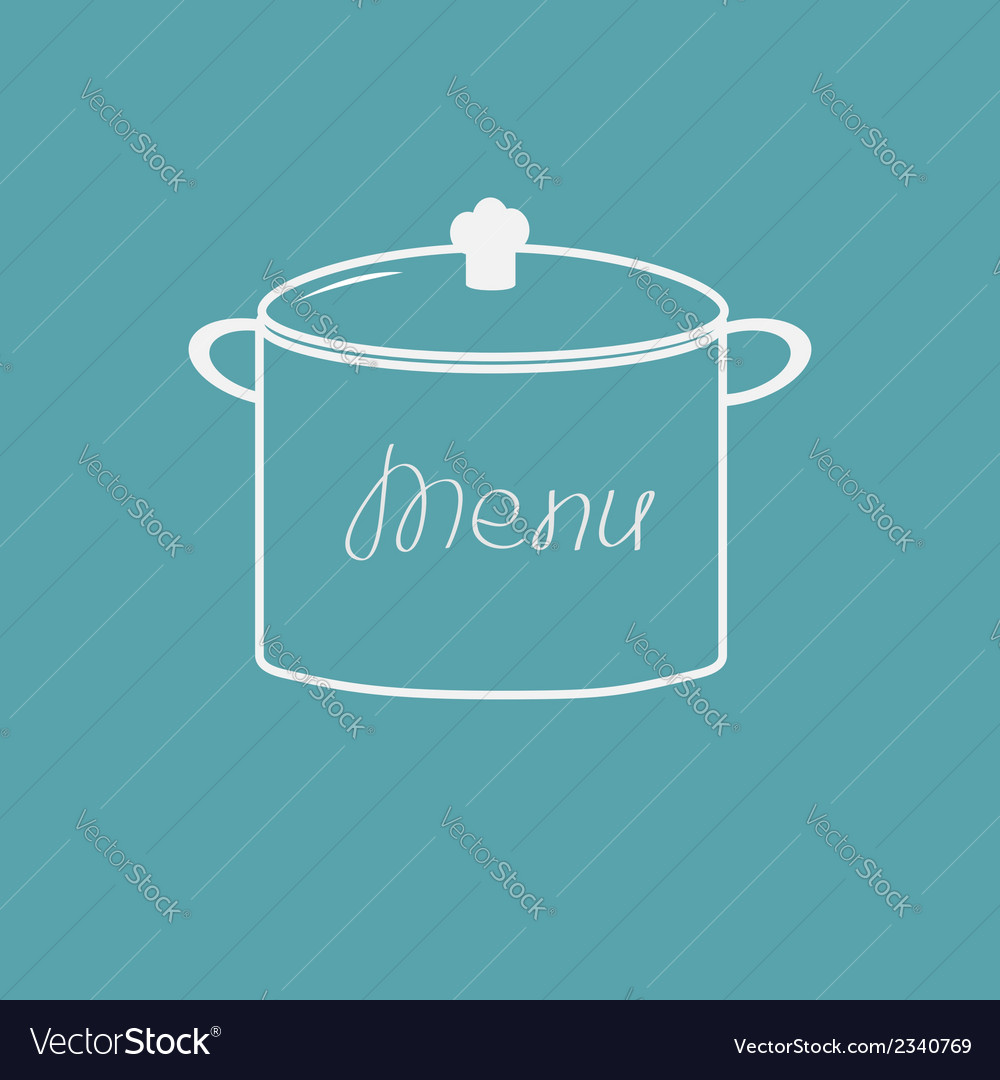 Menu cover with saucepan Flat design style