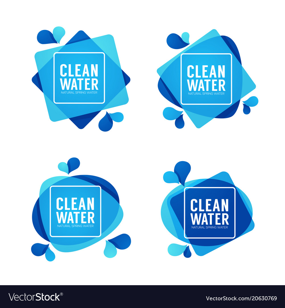 Natural spring water logo labels and stickers