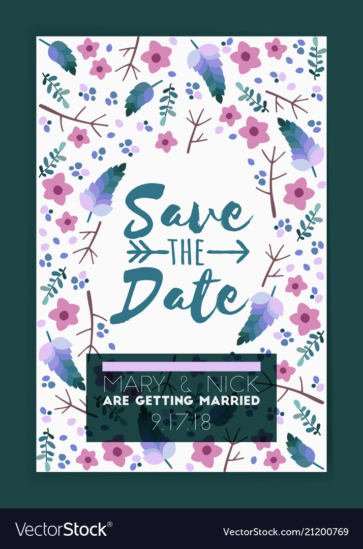 Save the date wedding invitation card design
