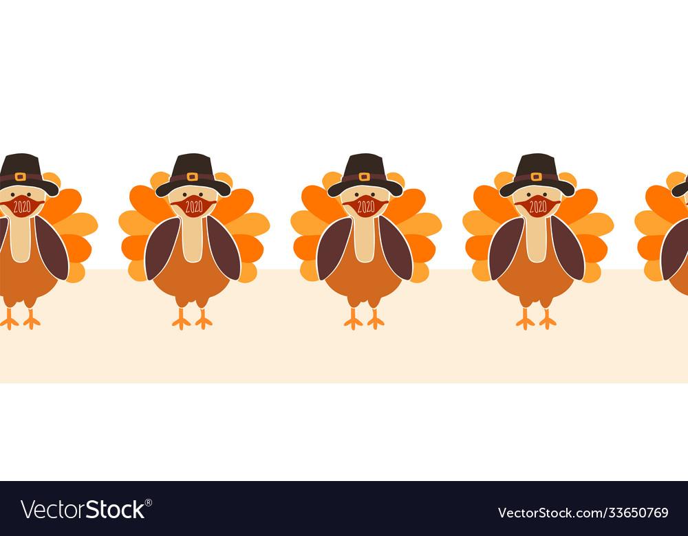 Thanksgiving turkey wearing a face mask seamless