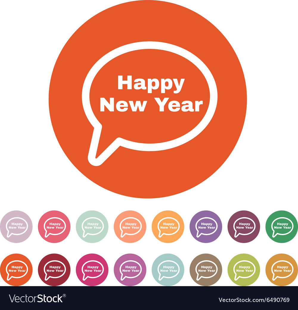 The speech bubble with the word happy new year