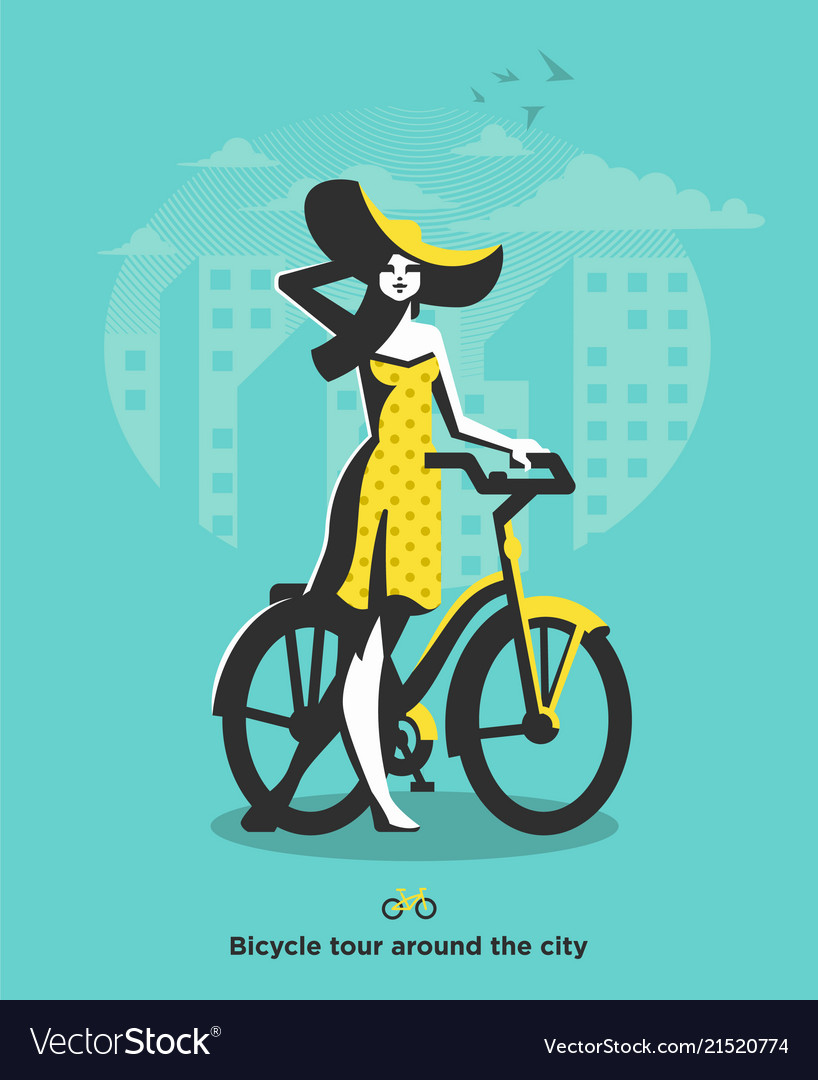 A girl in a hat walks next to a bicycle