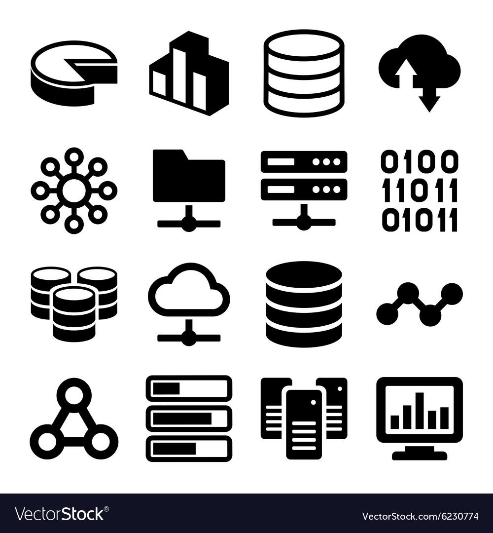 Big Data Analytics Icons Set on White Background