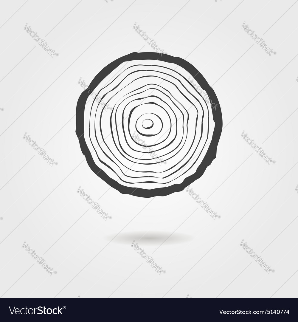 Black Tree Rings Icon With Shadow Royalty Free Vector Image