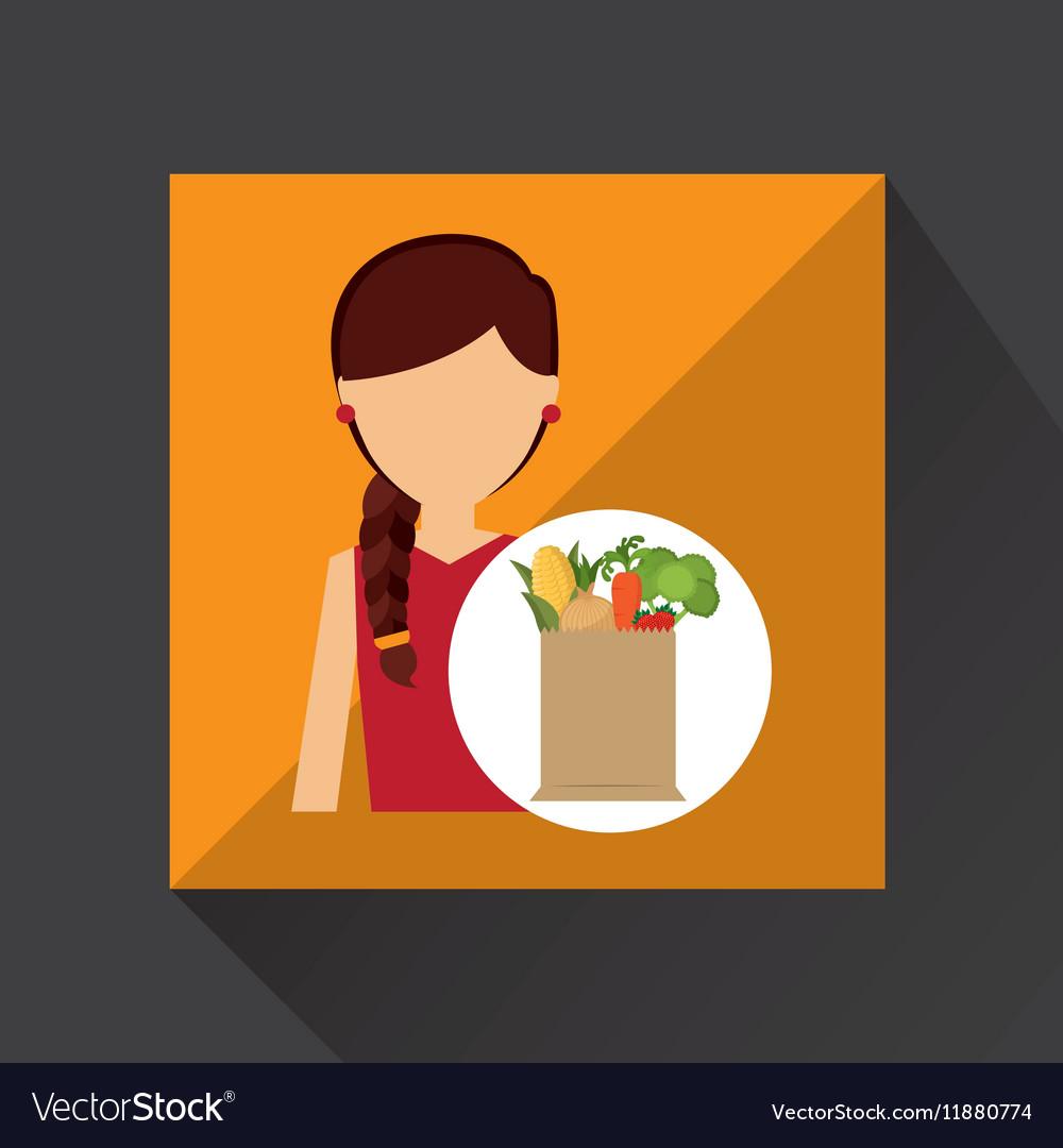 Cartoon girl red dress grocery bag vegetables vector image