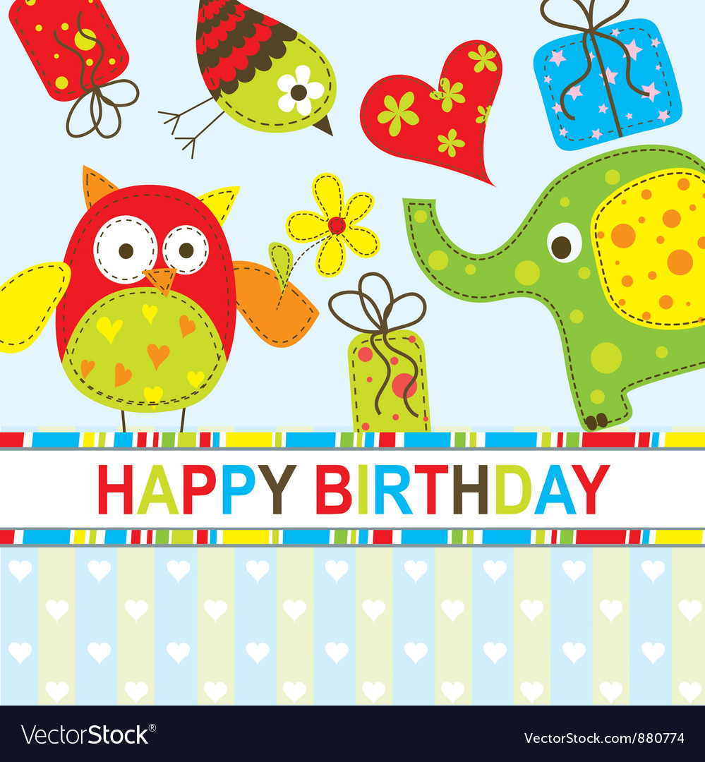 Strange Children Birthday Card Royalty Free Vector Image Funny Birthday Cards Online Fluifree Goldxyz
