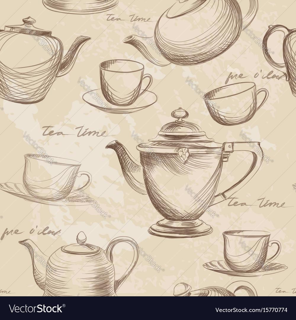 Cup pot kettle seamless pattern tea time hot