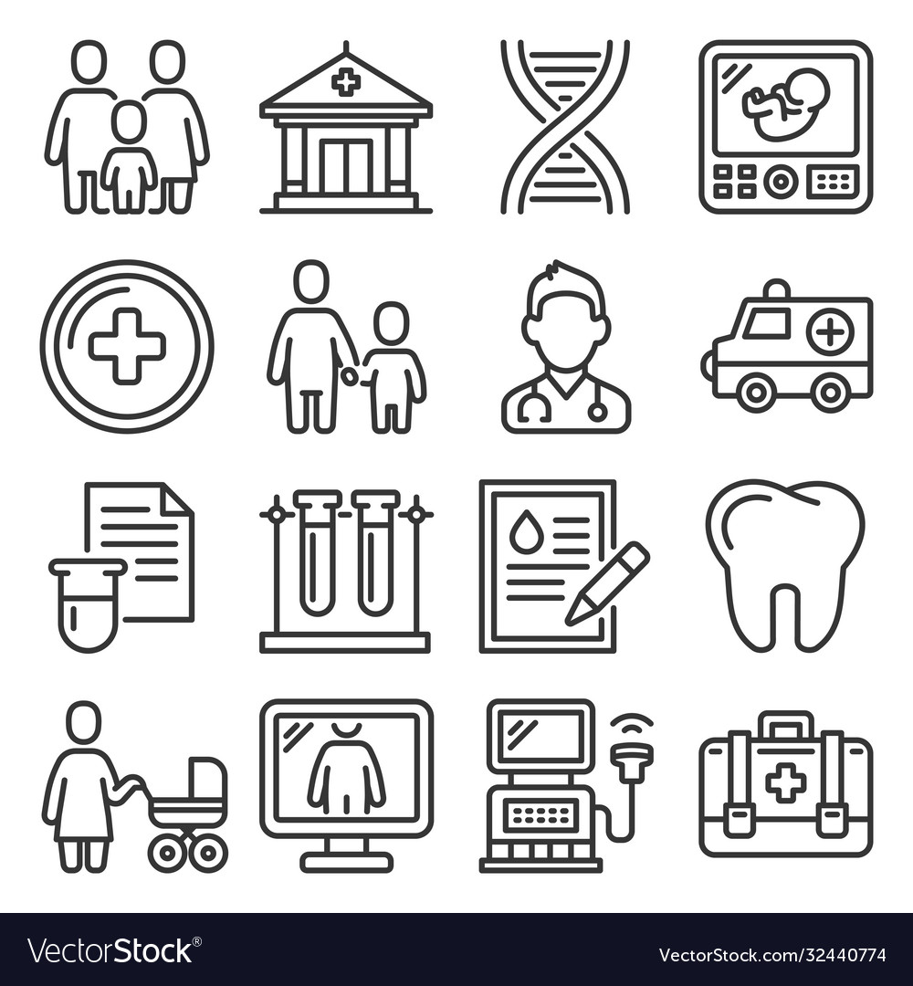 Family health clinic icons set on white background