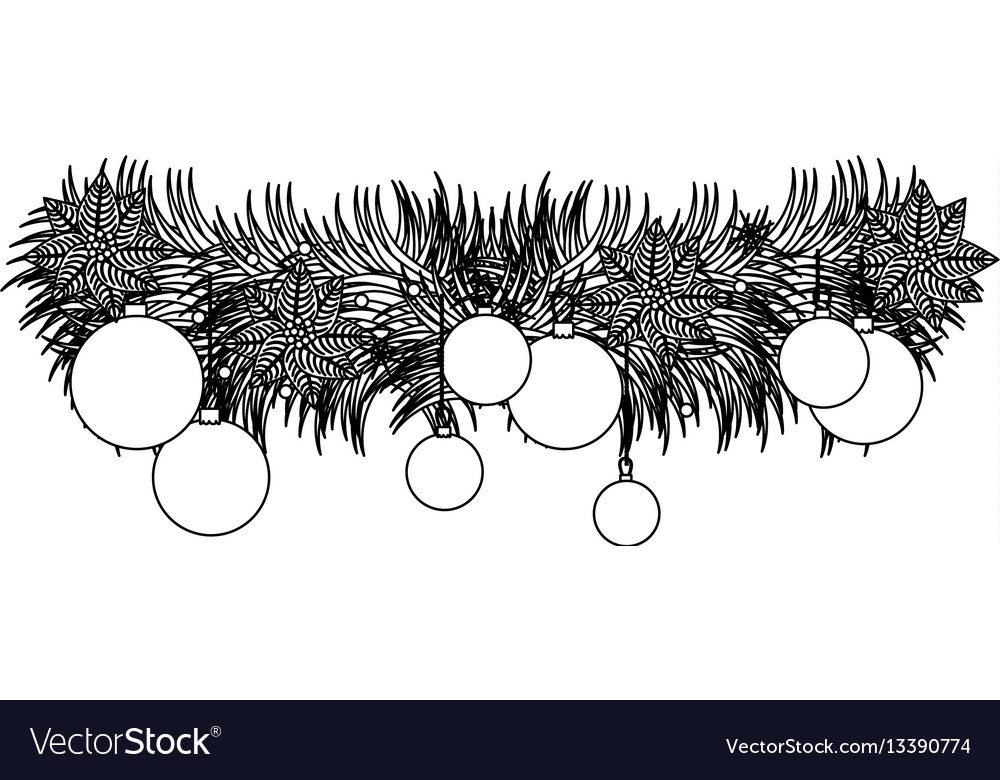 Figure wreath with christmas balls icon vector image