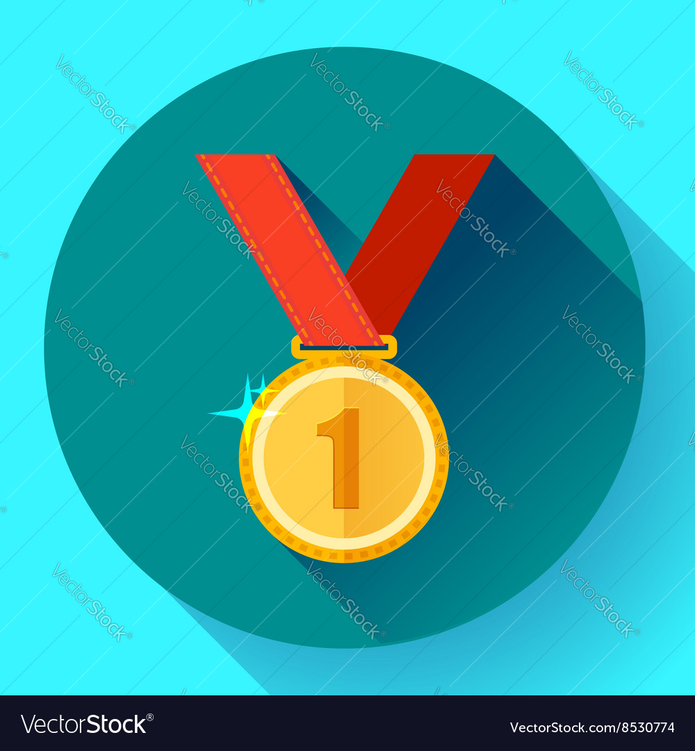Gold medal icon - first place Flat design style