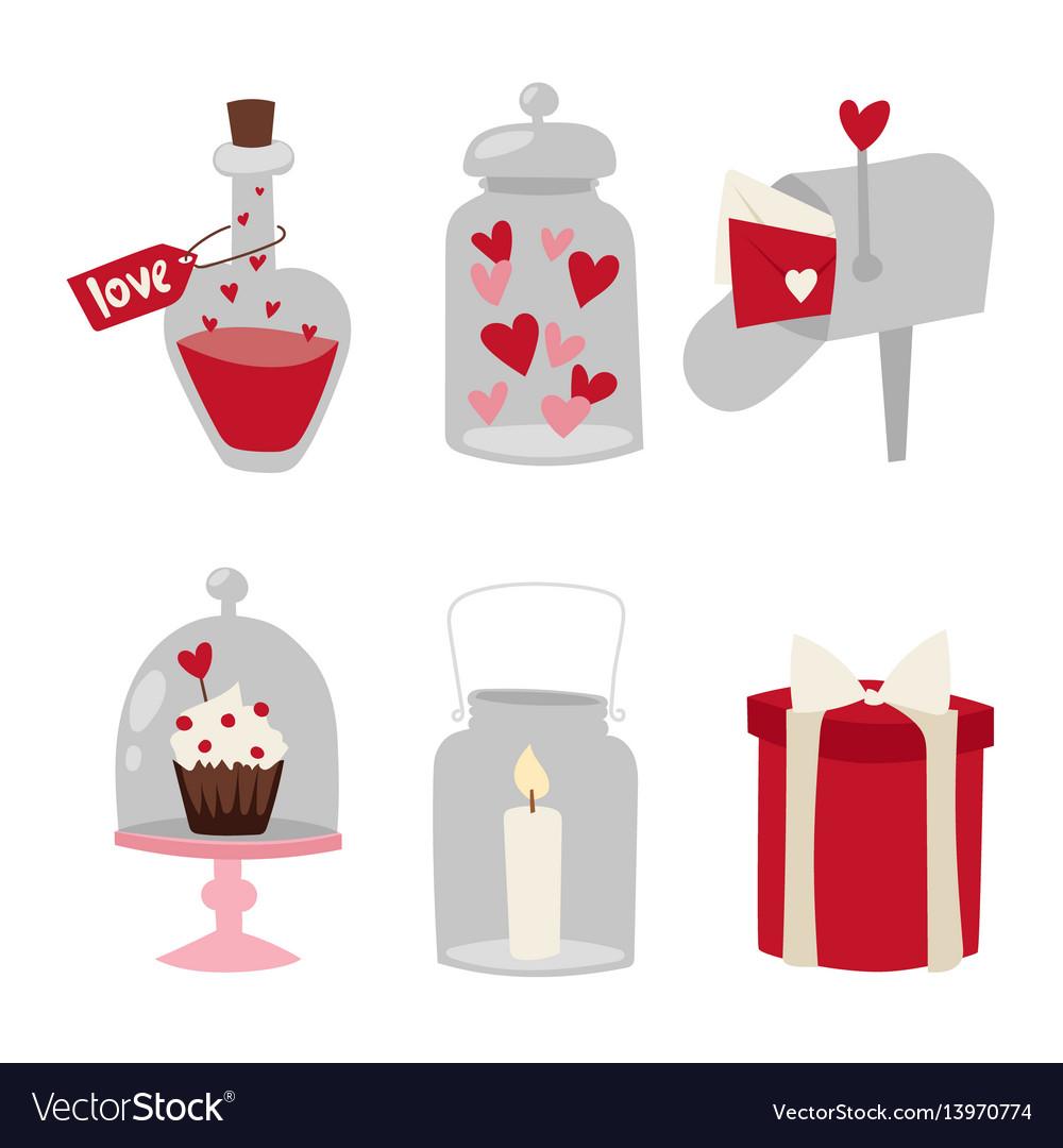 Happy valentine day flat design love wedding items