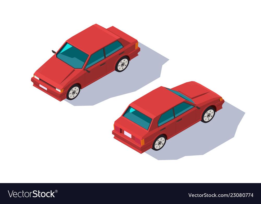 Isometric 3d four-seater red classic sedan car