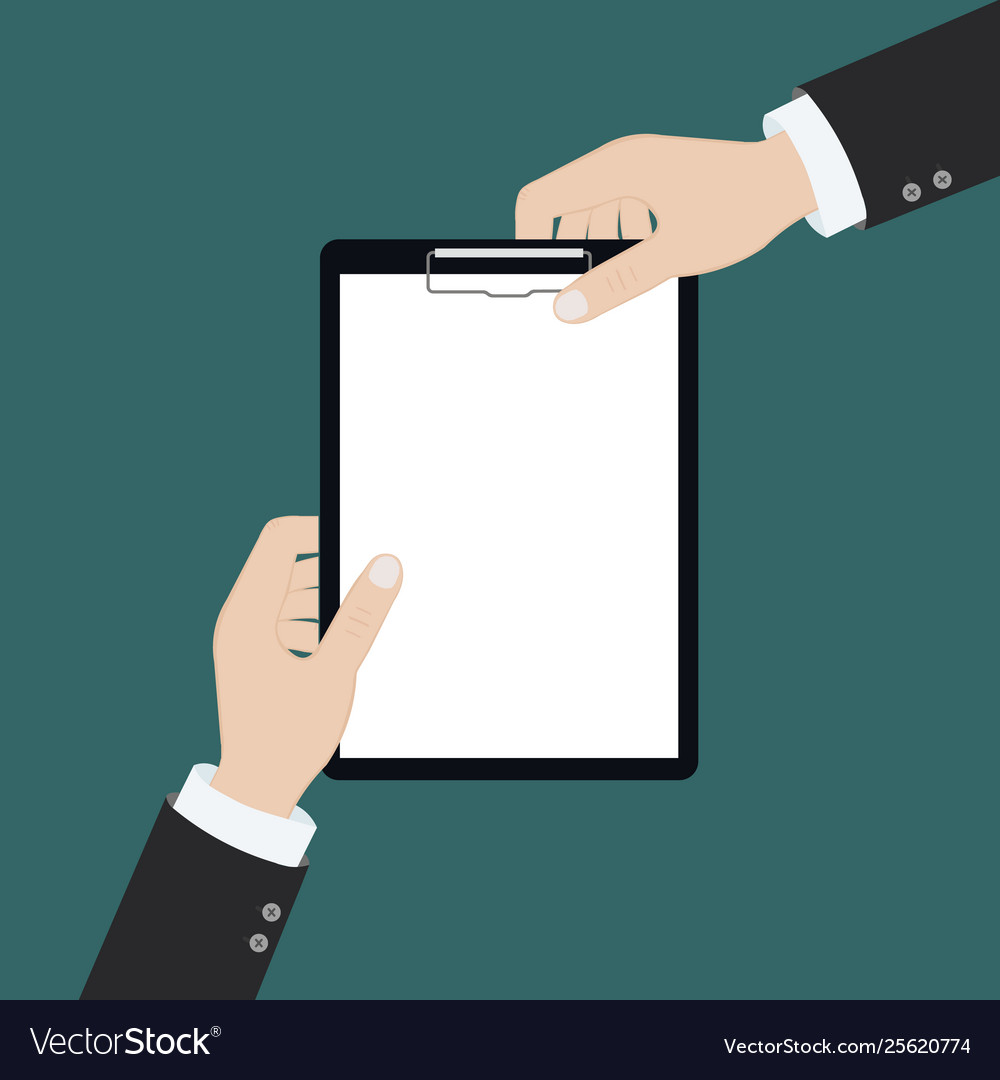 Modern flat on hands holding clipboard with empty