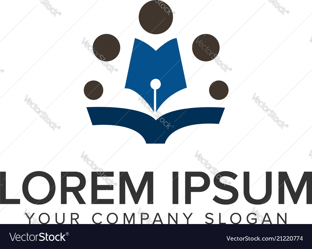 Pen people education logo design concept template
