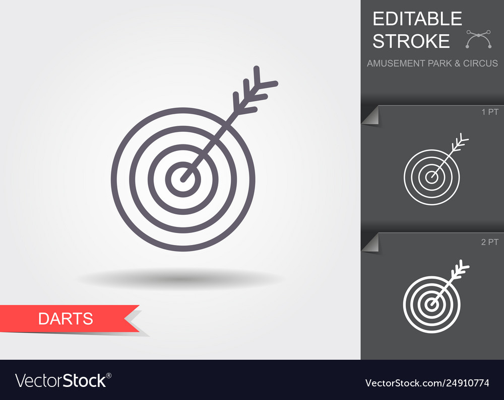 Target icon line icon with editable stroke