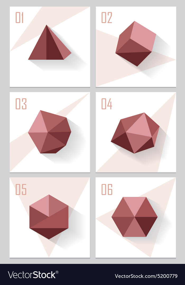 3d Origami Low Polygon Logo Shapes Vector Image