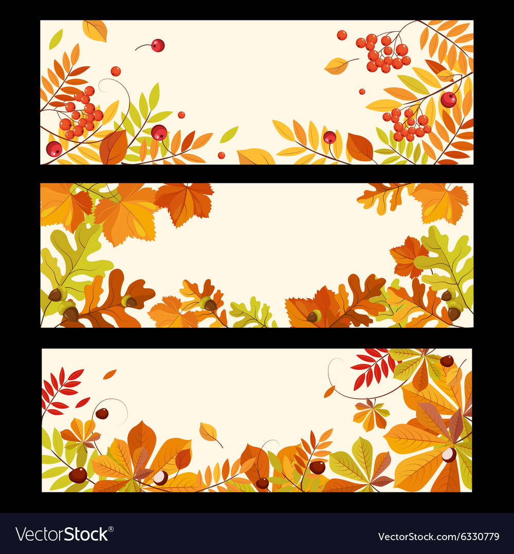 Autumn Banners with Berries and Leaves