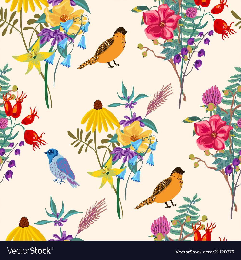 Bird and flowers vintage summer seamless