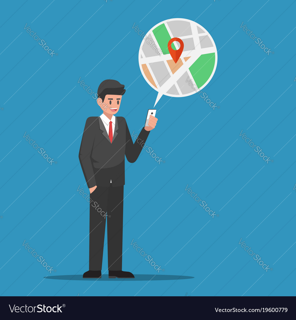 Businessman Find Location In Map Application On Vector Image - Find location of phone number on map