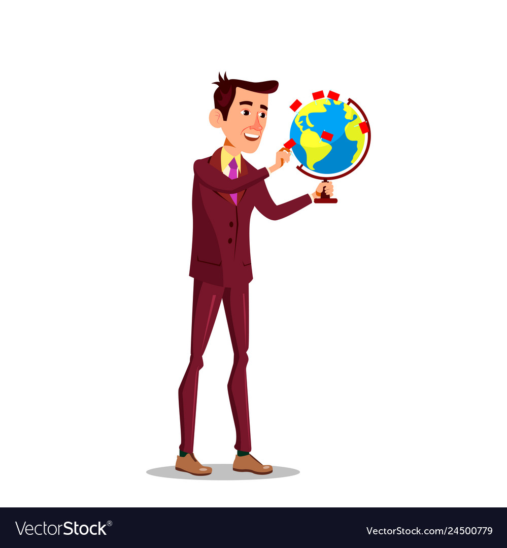 Businessman with a globe and pointer mark flag