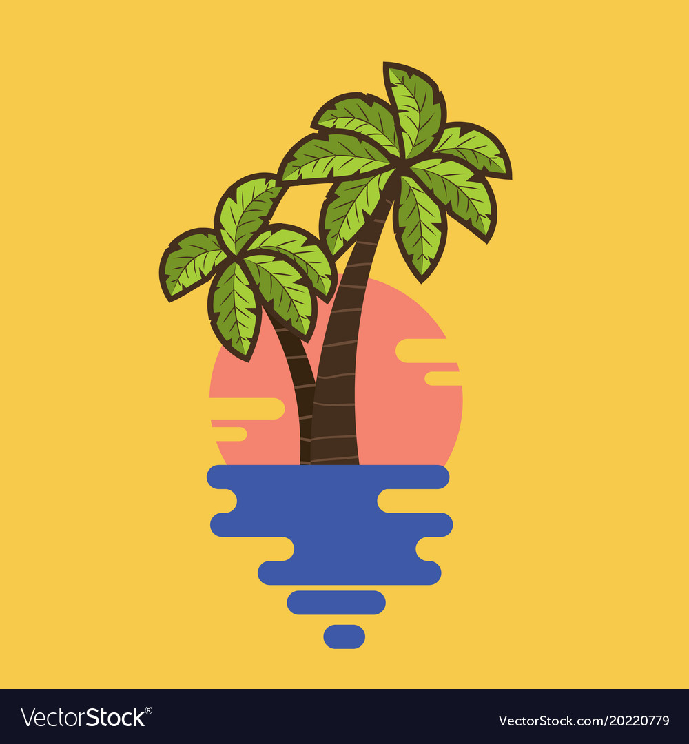 Cartoon palms with tropical leaves