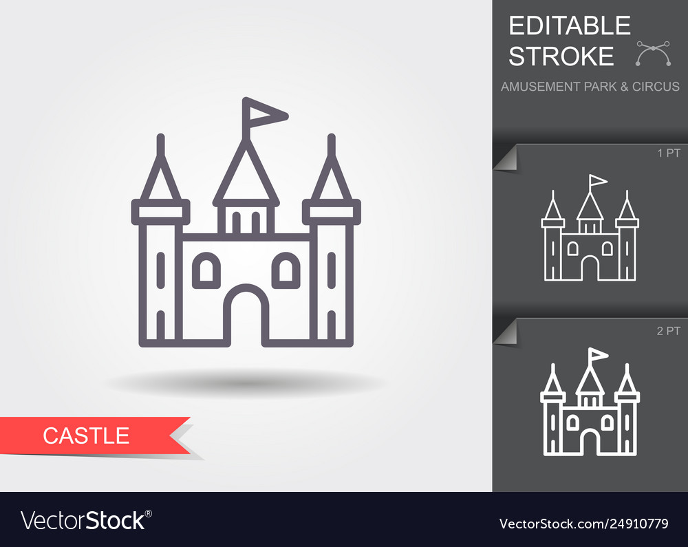 Castle tower line icon with editable stroke