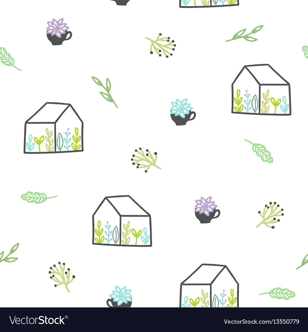 Cute plants seamless pattern