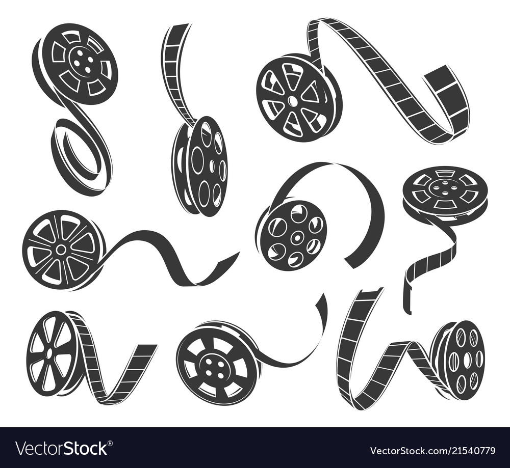 Film reel icons set isolated from