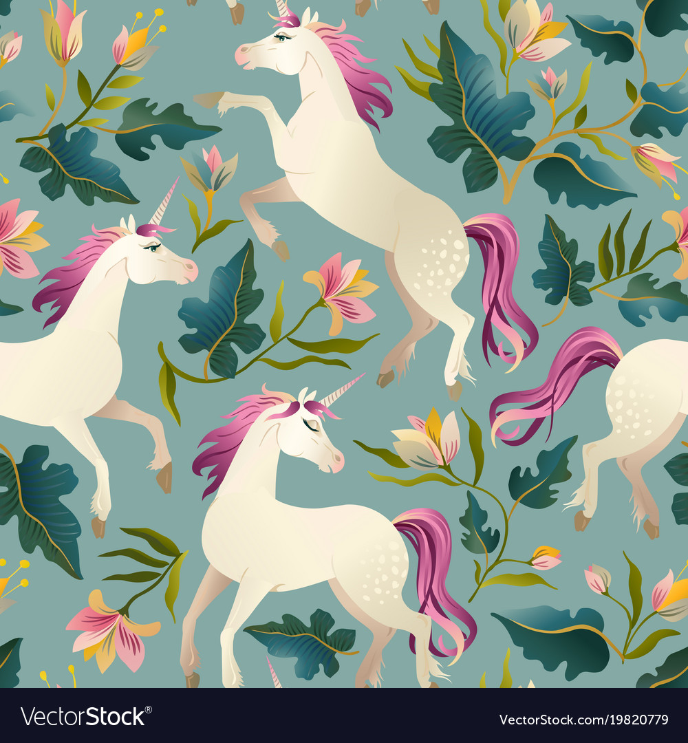 Hand drawn vintage unicorn in magic forest